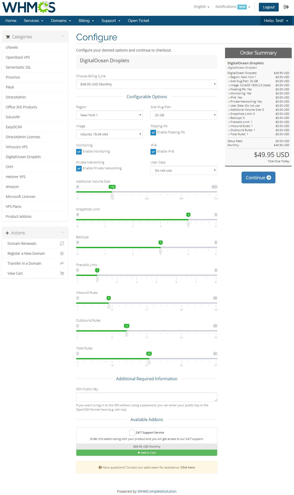 DigitalOcean Droplets For WHMCS: Module Screenshot 10