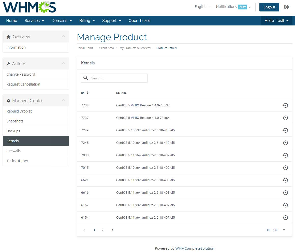 DigitalOcean Droplets For WHMCS: Module Screenshot 5