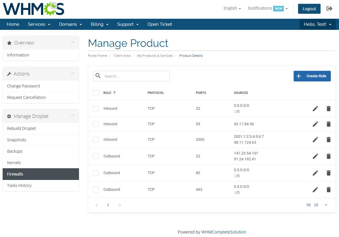 DigitalOcean Droplets For WHMCS: Module Screenshot 7