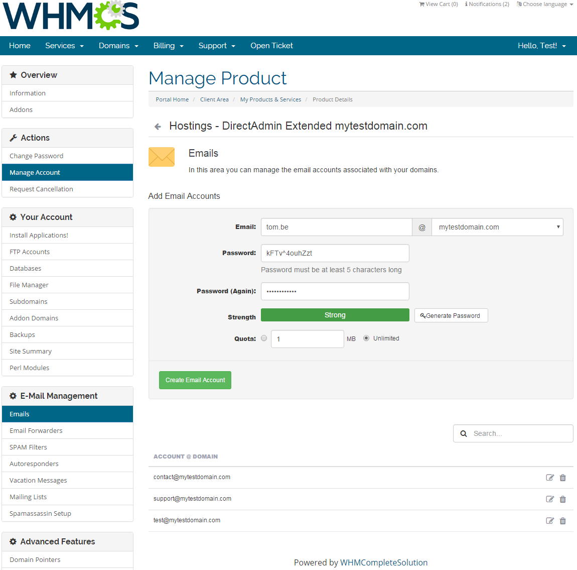 DirectAdmin Extended For WHMCS: Screen 5