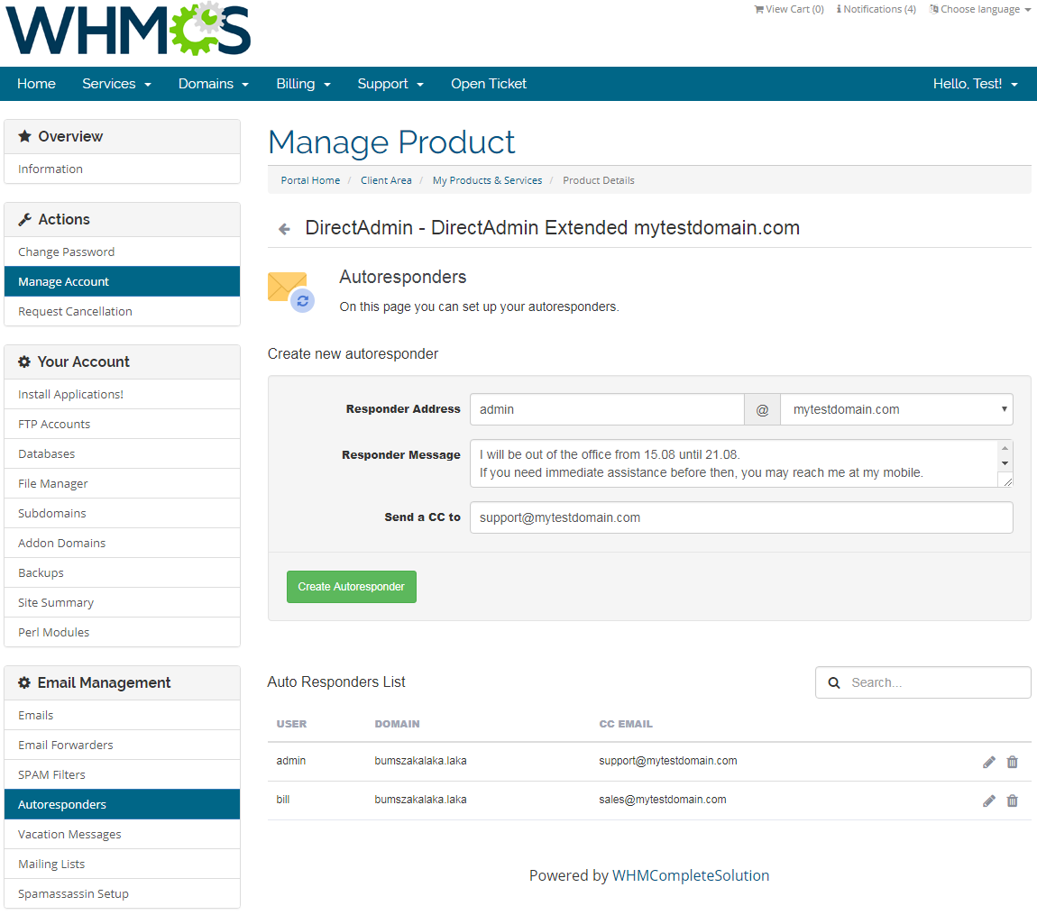 DirectAdmin Extended For WHMCS: Screen 15