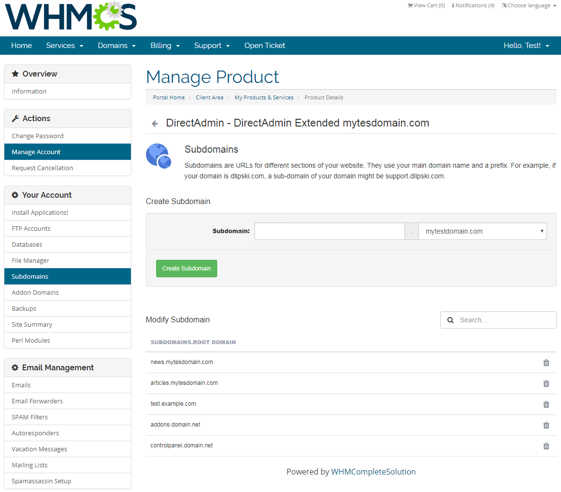 DirectAdmin Extended For WHMCS: Screen 8