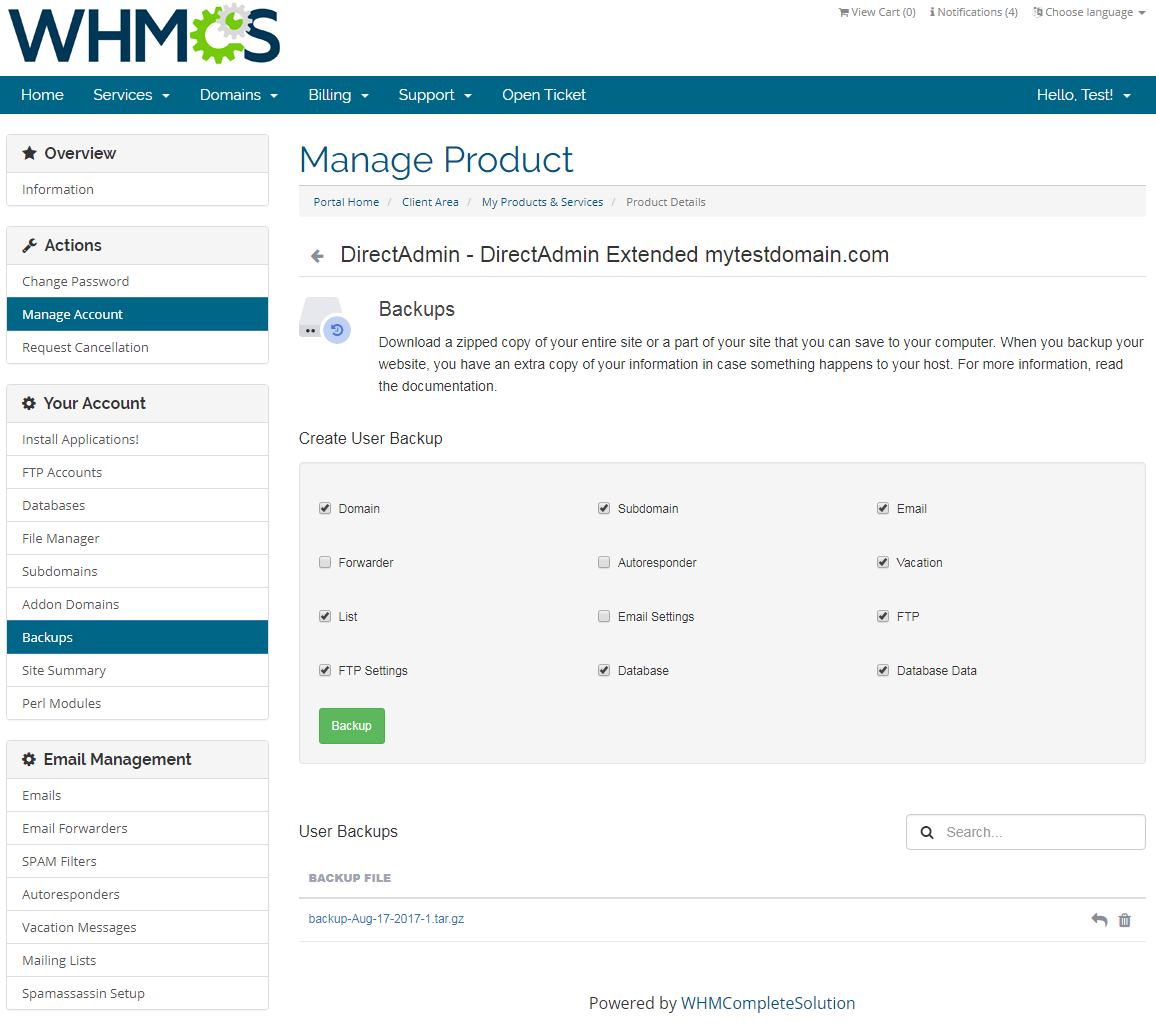 DirectAdmin Extended For WHMCS: Screen 10