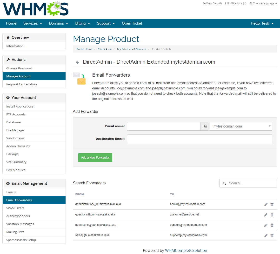 DirectAdmin Extended For WHMCS: Screen 13