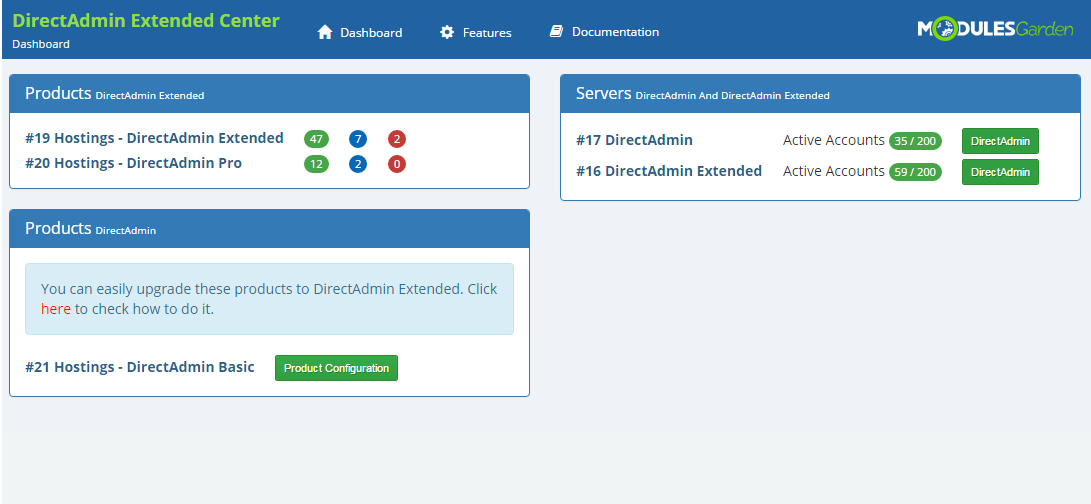 DirectAdmin Extended For WHMCS: Screen 26