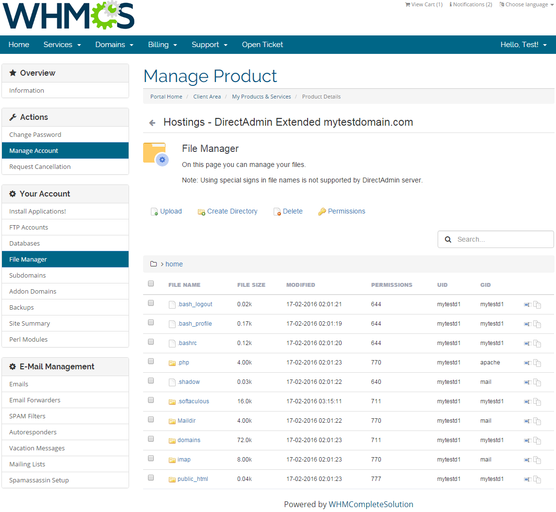 DirectAdmin Extended For WHMCS: Screen 7