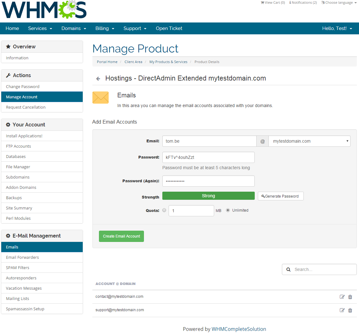 DirectAdmin Extended For WHMCS: Screen 12