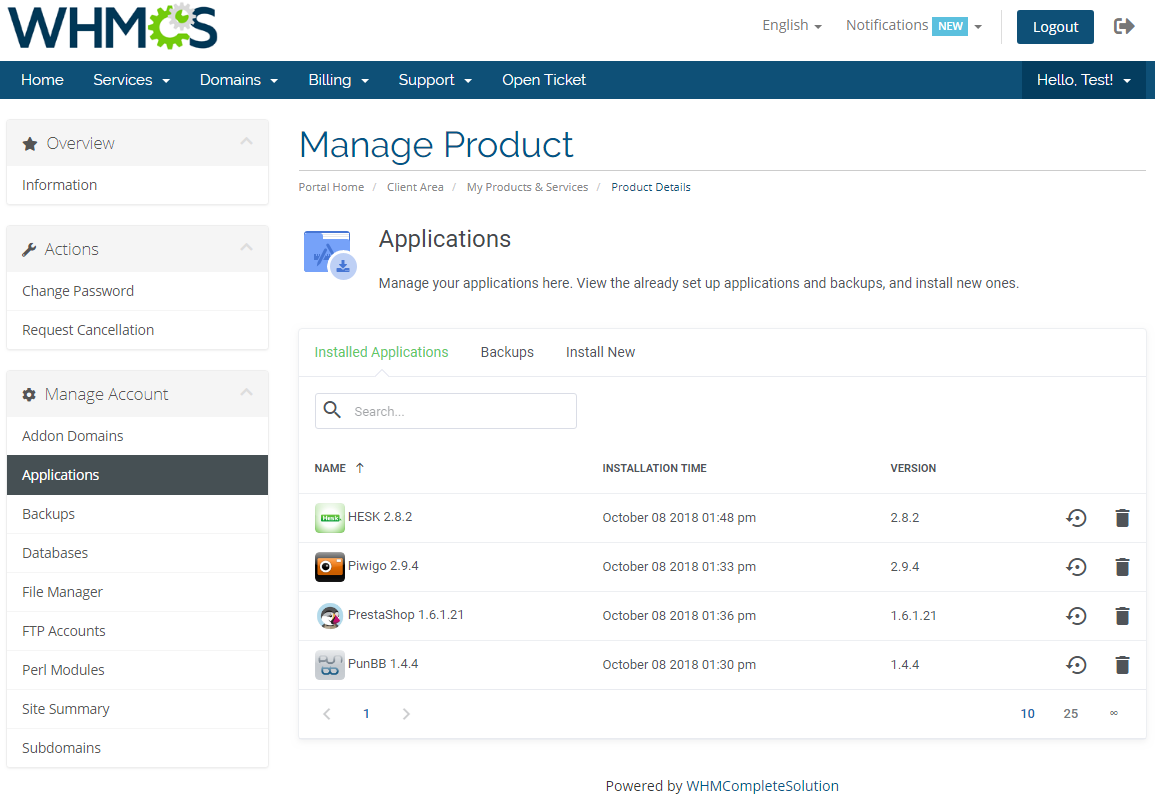 DirectAdmin Extended For WHMCS: Screen 3