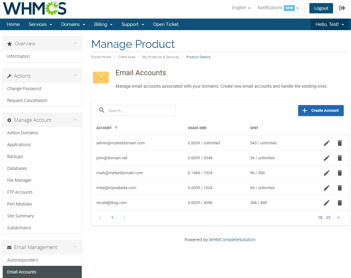DirectAdmin Extended For WHMCS: Screen 16