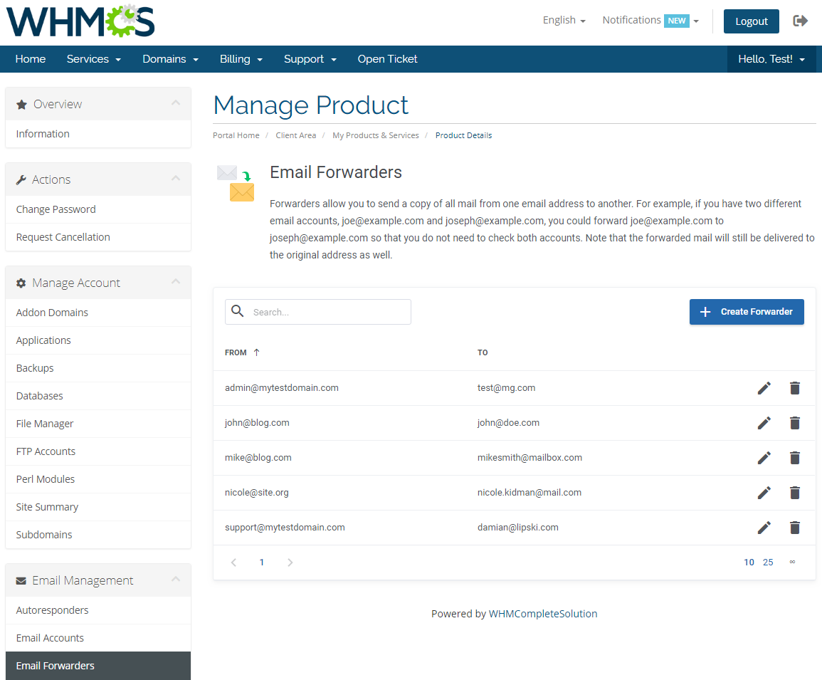 DirectAdmin Extended For WHMCS: Screen 17