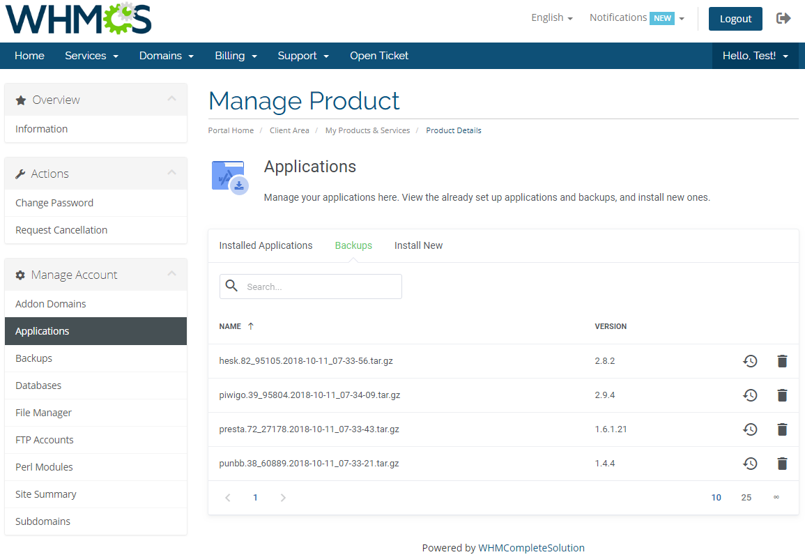 DirectAdmin Extended For WHMCS: Screen 4