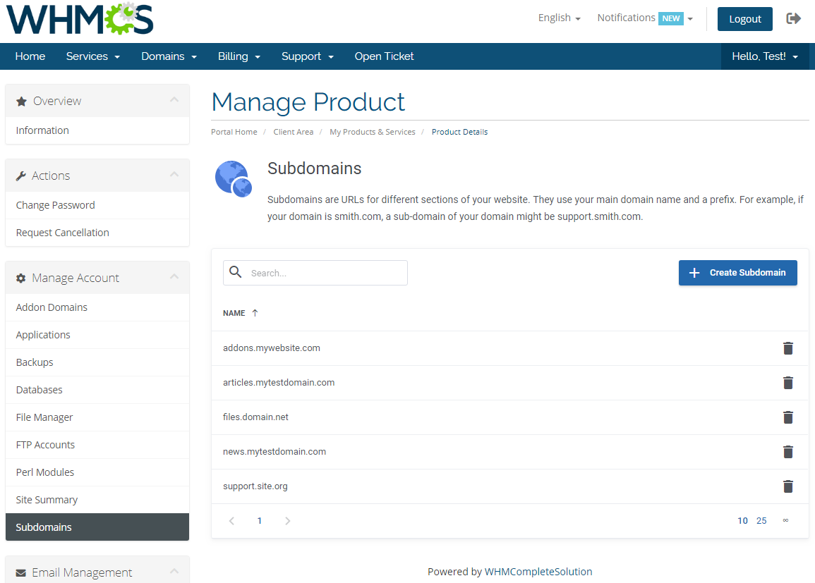 DirectAdmin Extended For WHMCS: Screen 14