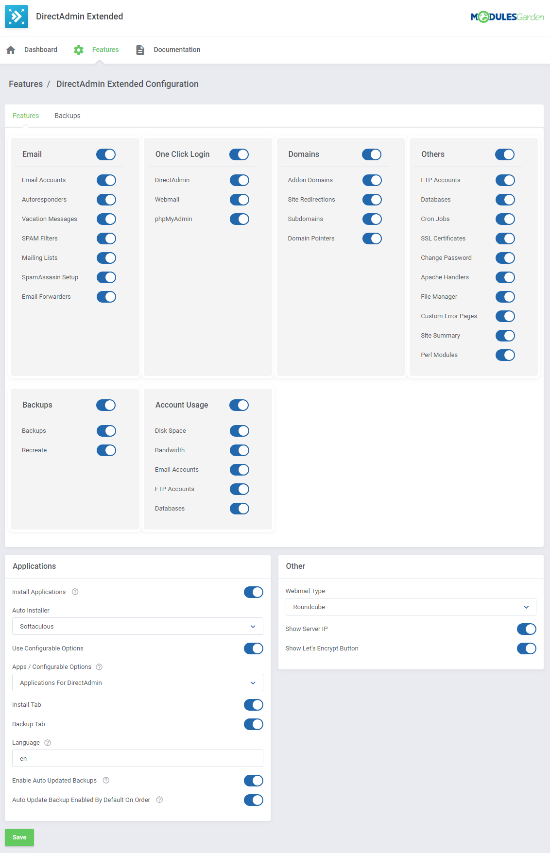DirectAdmin Extended For WHMCS: Screen 34