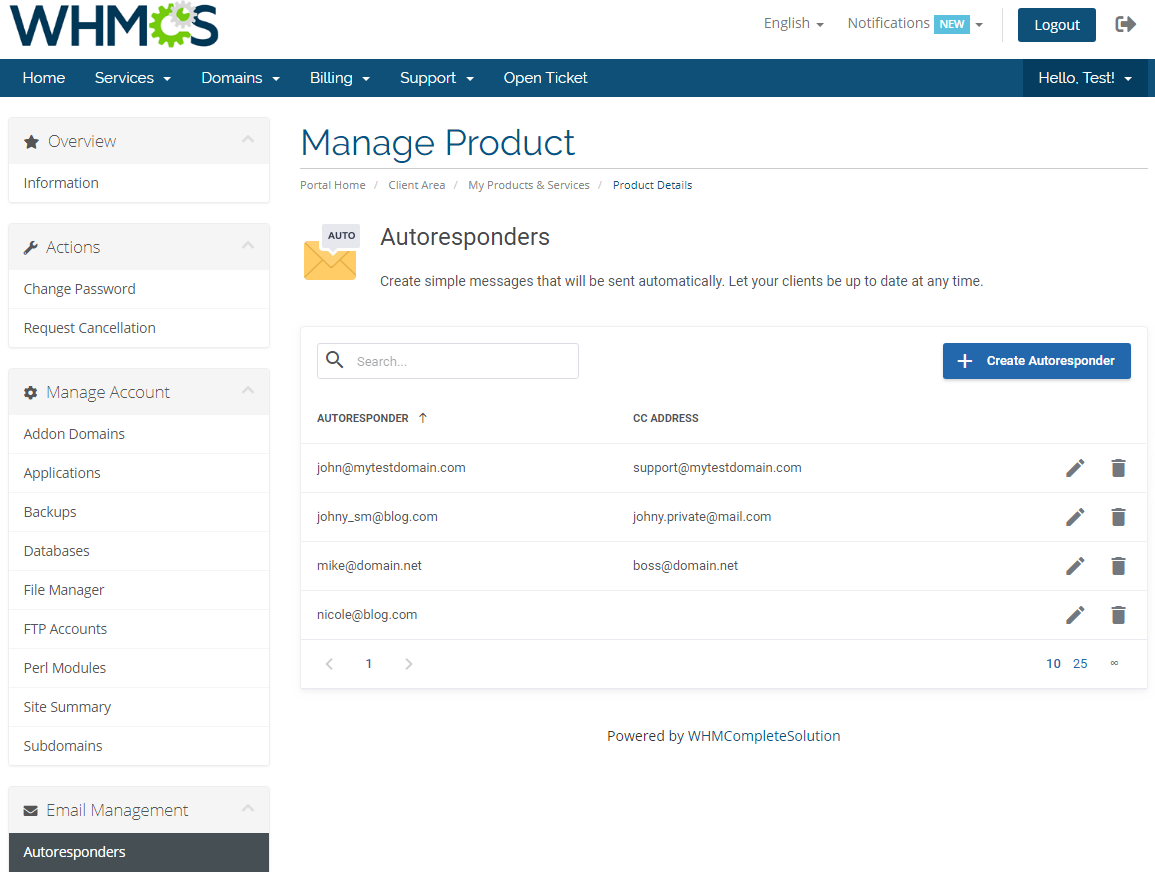 DirectAdmin Extended For WHMCS: Module Screenshot 16