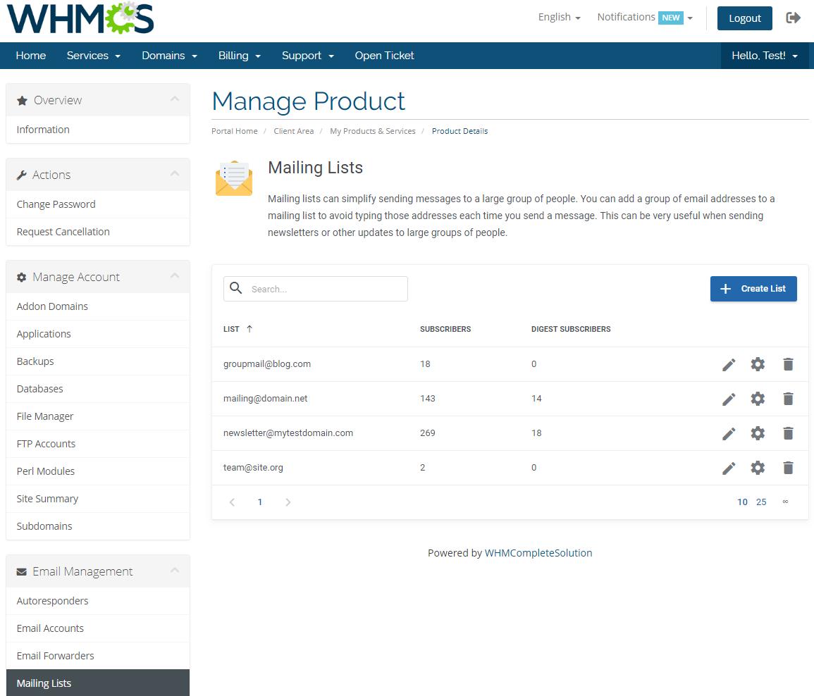 DirectAdmin Extended For WHMCS: Module Screenshot 19
