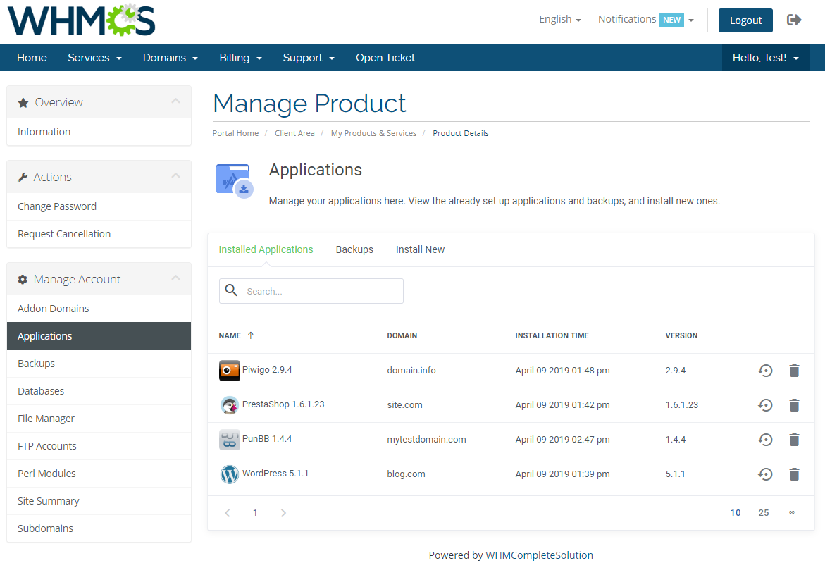 DirectAdmin Extended For WHMCS: Module Screenshot 4