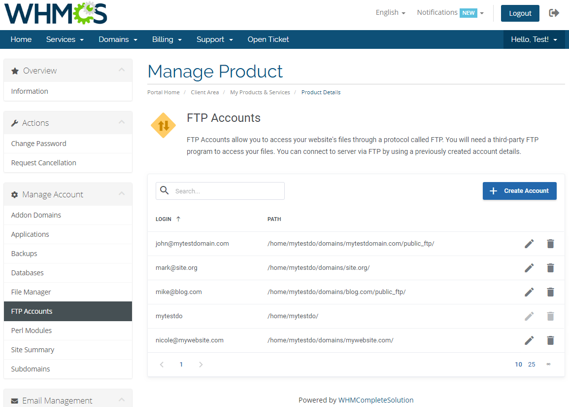 DirectAdmin Extended For WHMCS: Module Screenshot 12