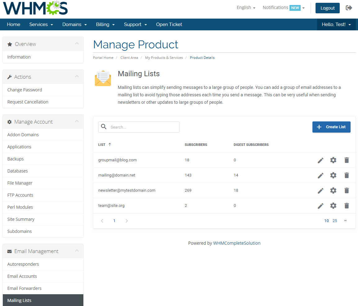 DirectAdmin Extended For WHMCS: Module Screenshot 19