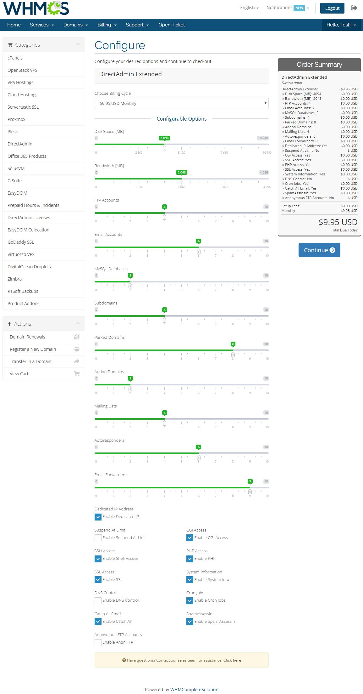 DirectAdmin Extended For WHMCS: Module Screenshot 30