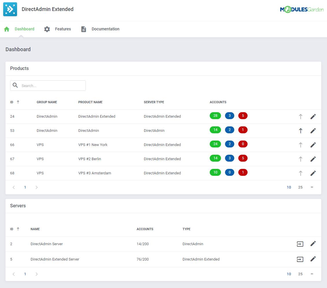 DirectAdmin Extended For WHMCS: Module Screenshot 33