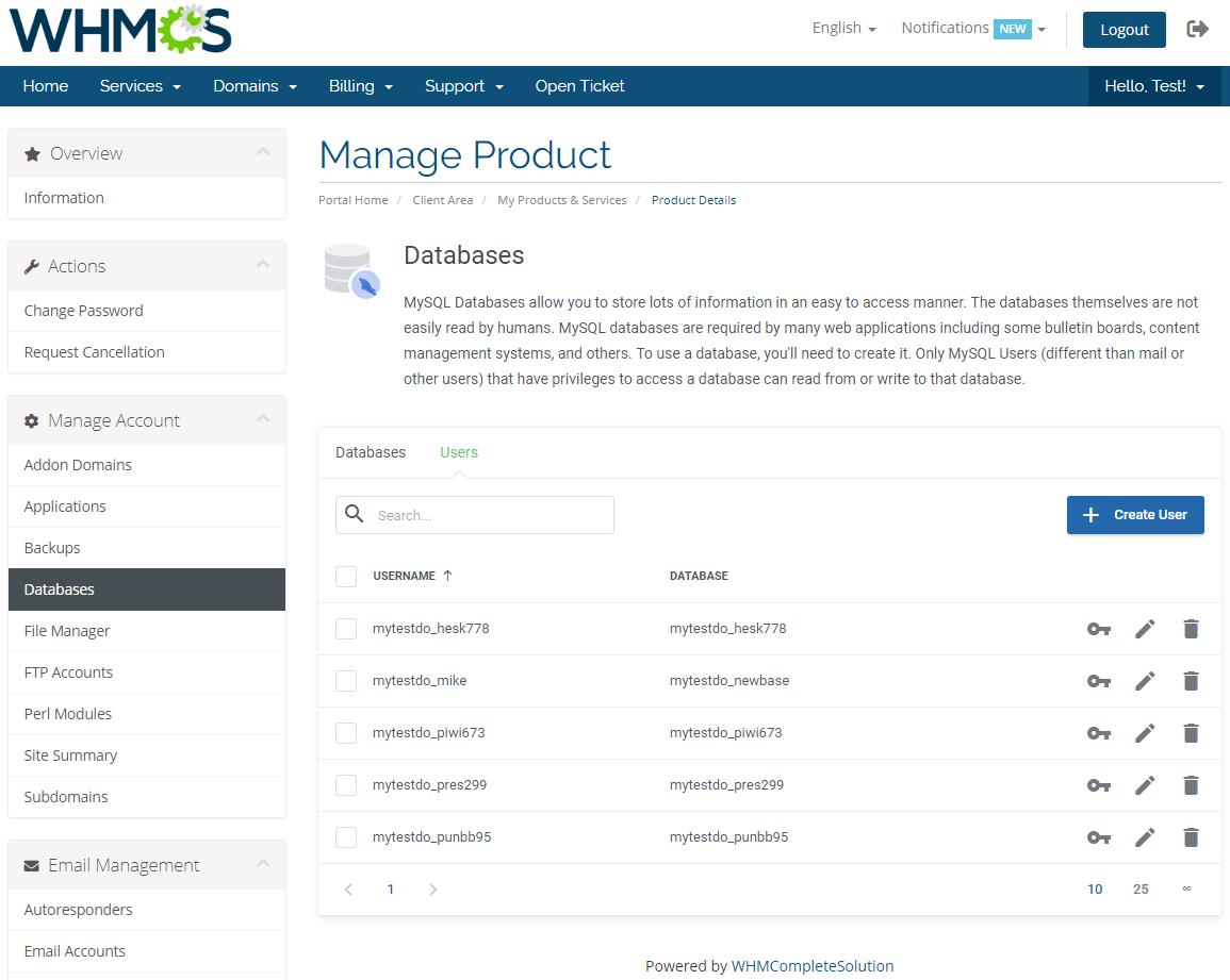 DirectAdmin Extended For WHMCS: Module Screenshot 10