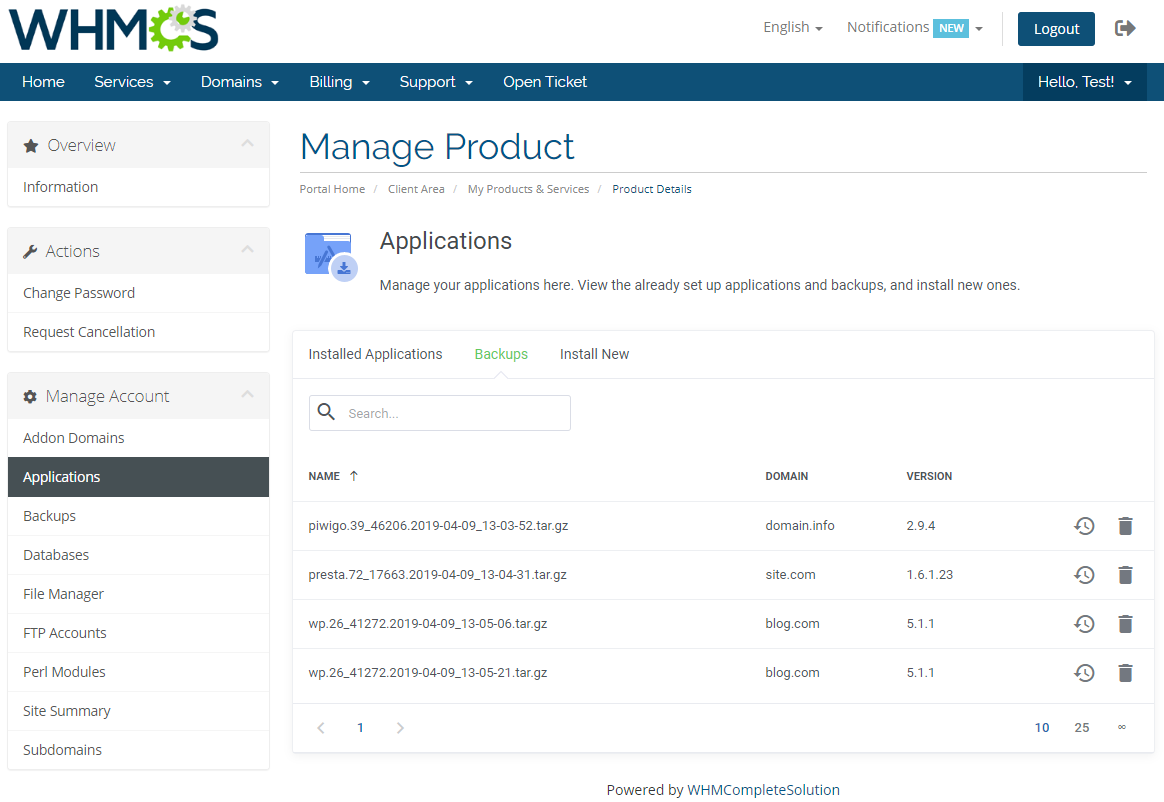 DirectAdmin Extended For WHMCS: Module Screenshot 5