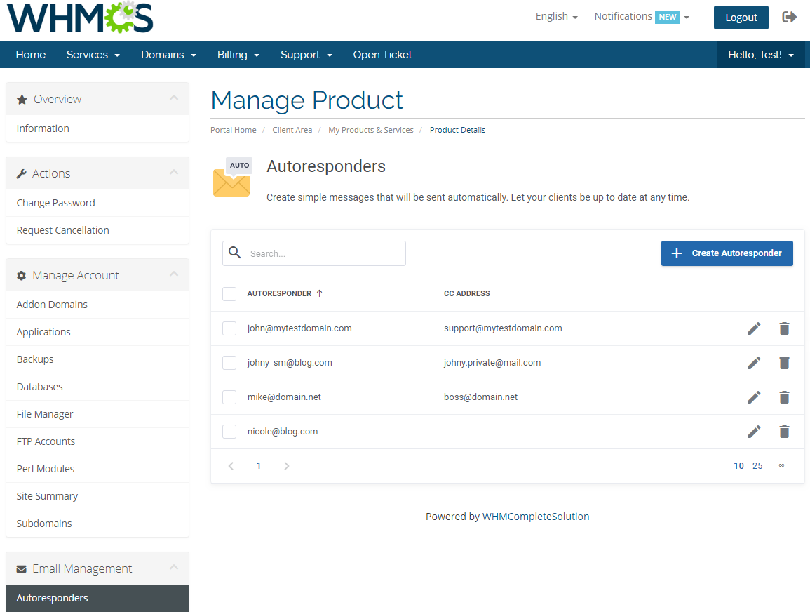 DirectAdmin Extended For WHMCS: Module Screenshot 16