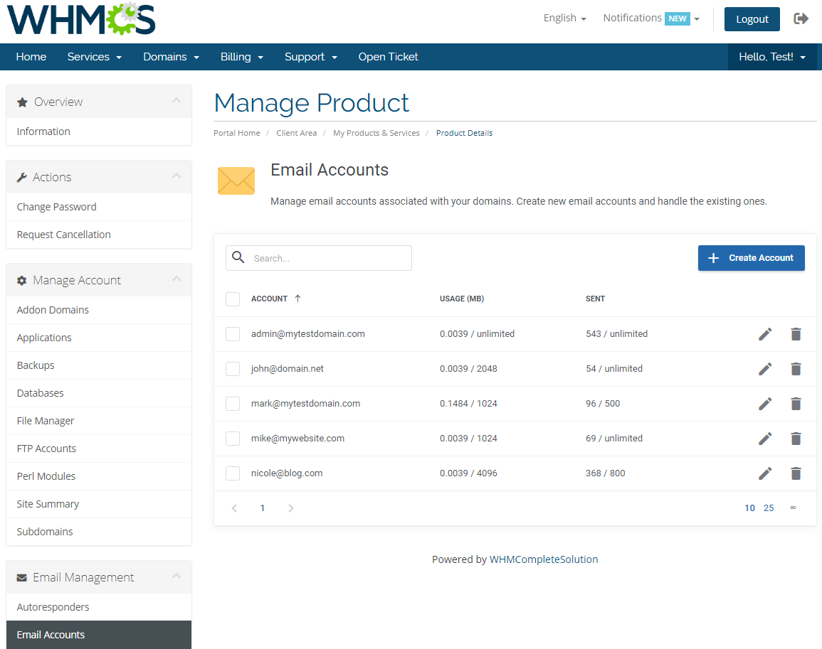 DirectAdmin Extended For WHMCS: Module Screenshot 17