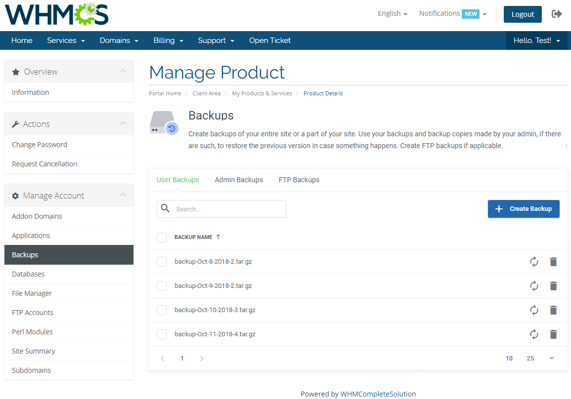 DirectAdmin Extended For WHMCS: Module Screenshot 7