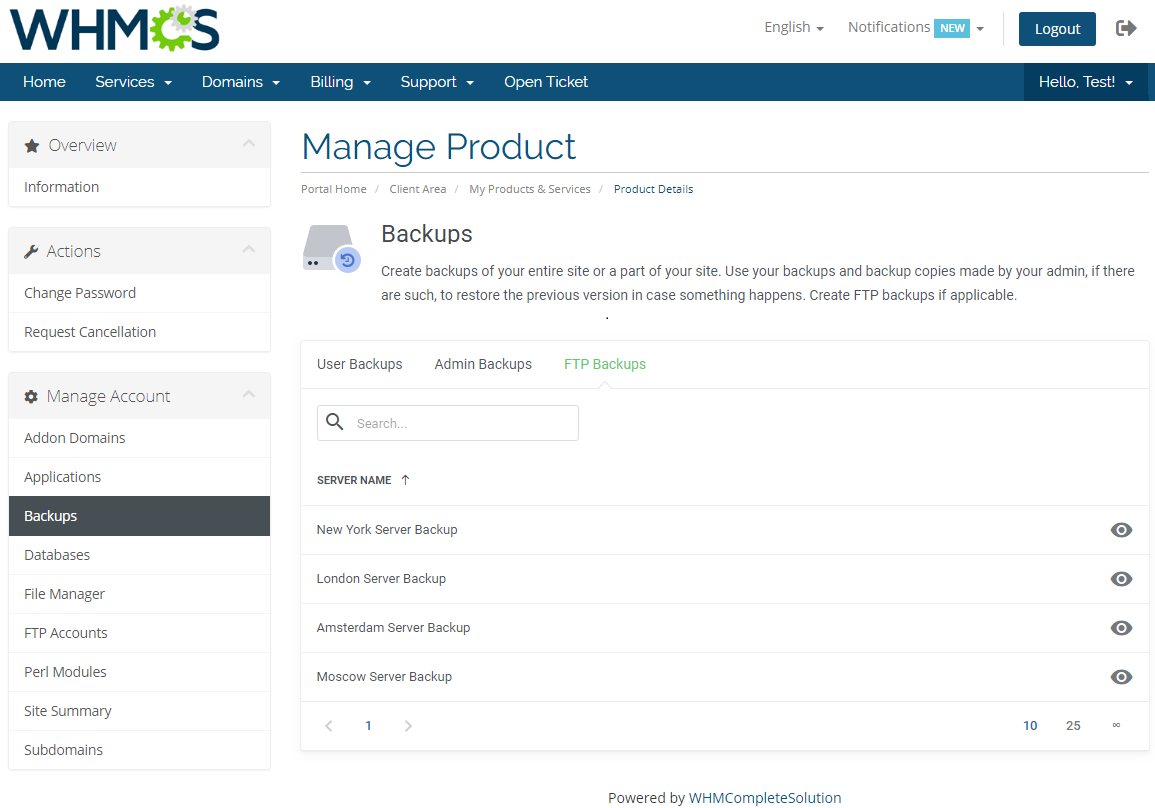 DirectAdmin Extended For WHMCS: Module Screenshot 8