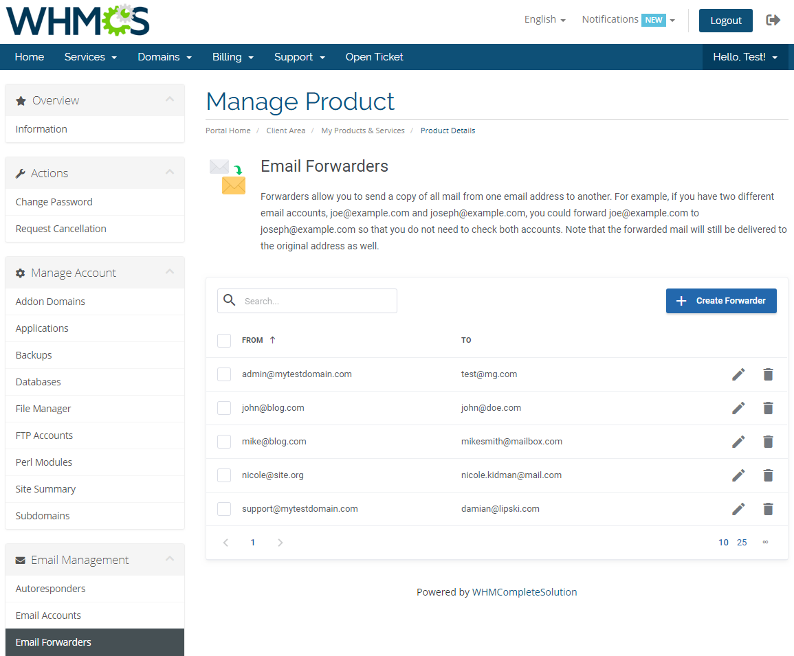 DirectAdmin Extended For WHMCS: Module Screenshot 18