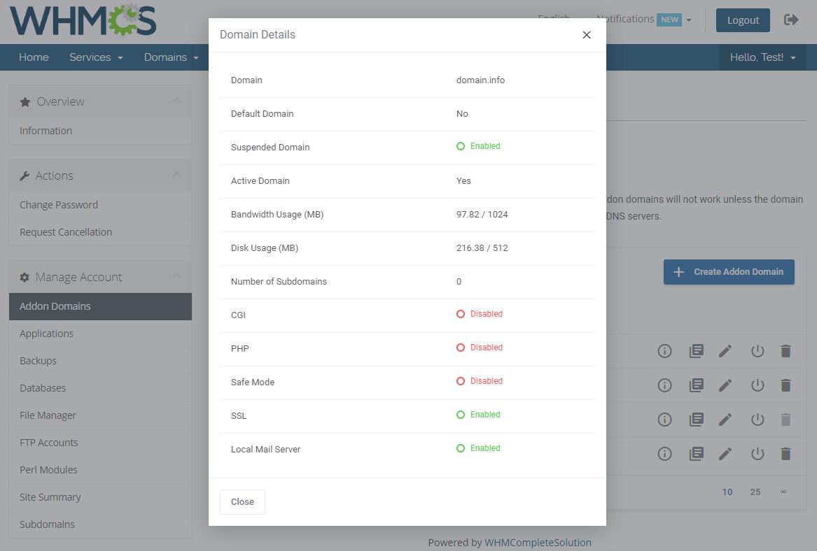 DirectAdmin Extended For WHMCS: Module Screenshot 3