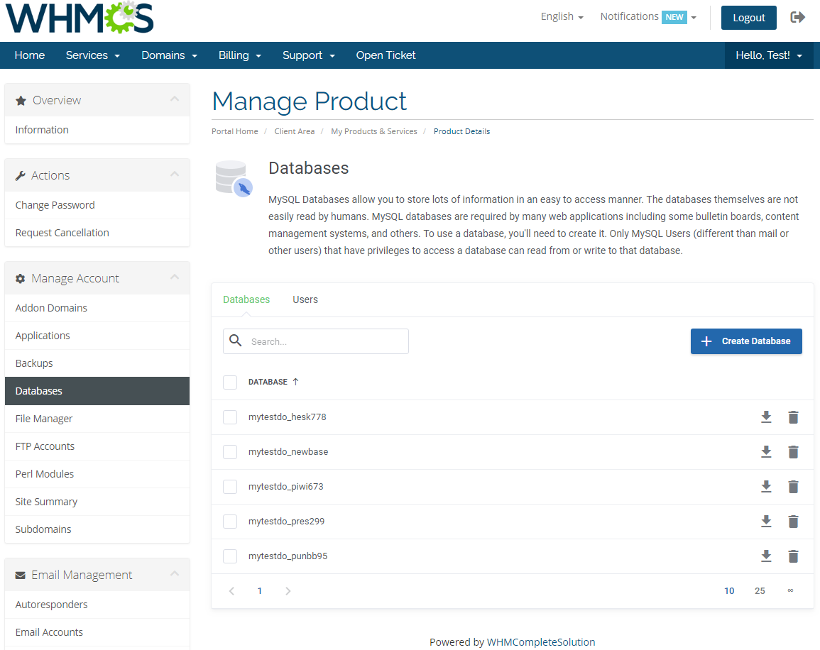 DirectAdmin Extended For WHMCS: Module Screenshot 9