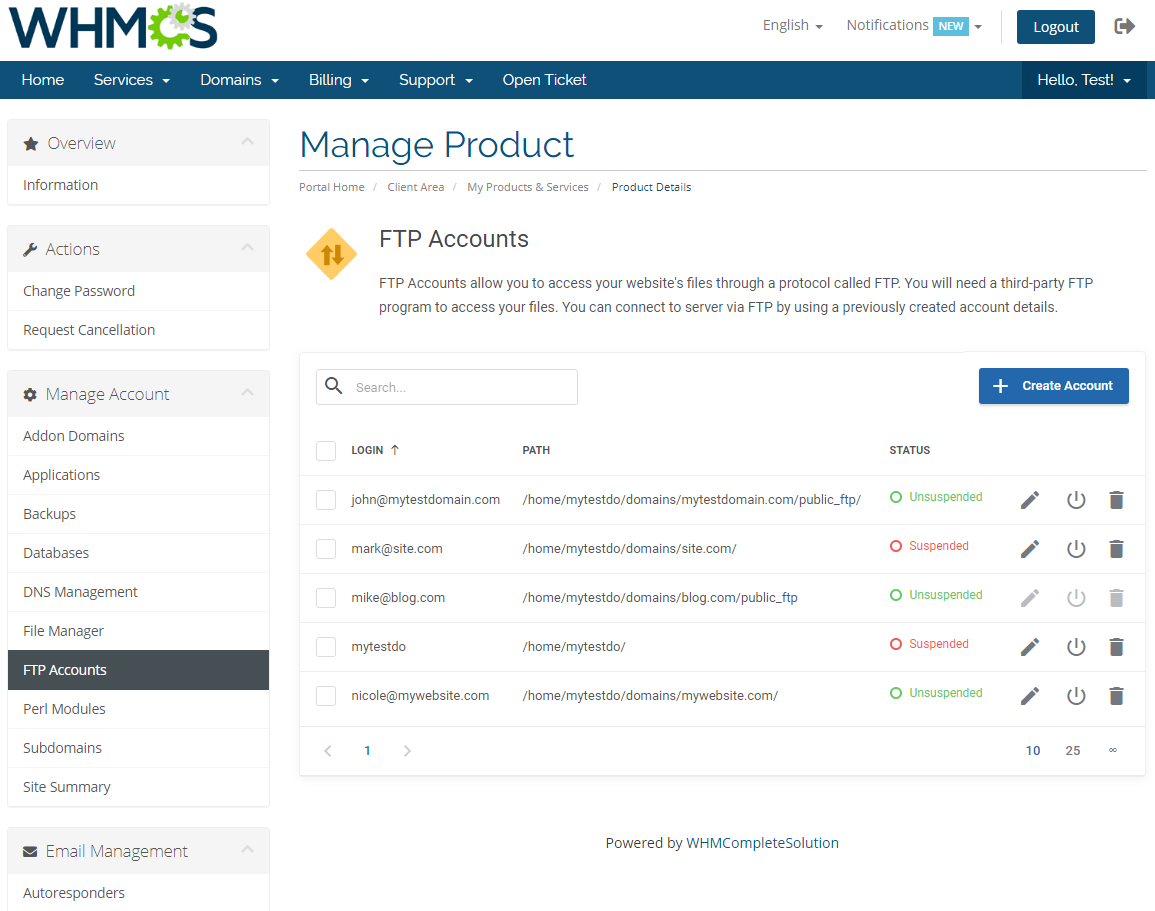 DirectAdmin Extended For WHMCS: Module Screenshot 13