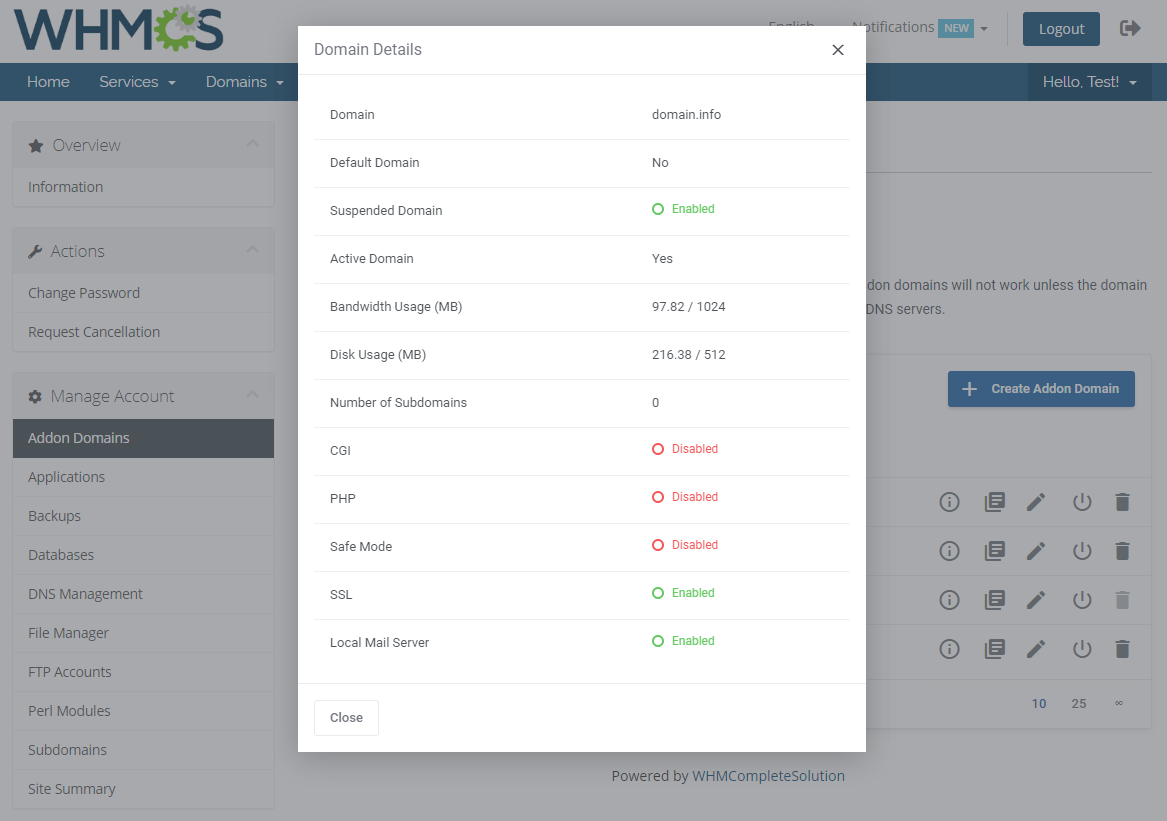 DirectAdmin Extended For WHMCS: Module Screenshot 3