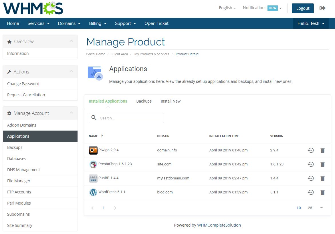 DirectAdmin Extended For WHMCS: Module Screenshot 4