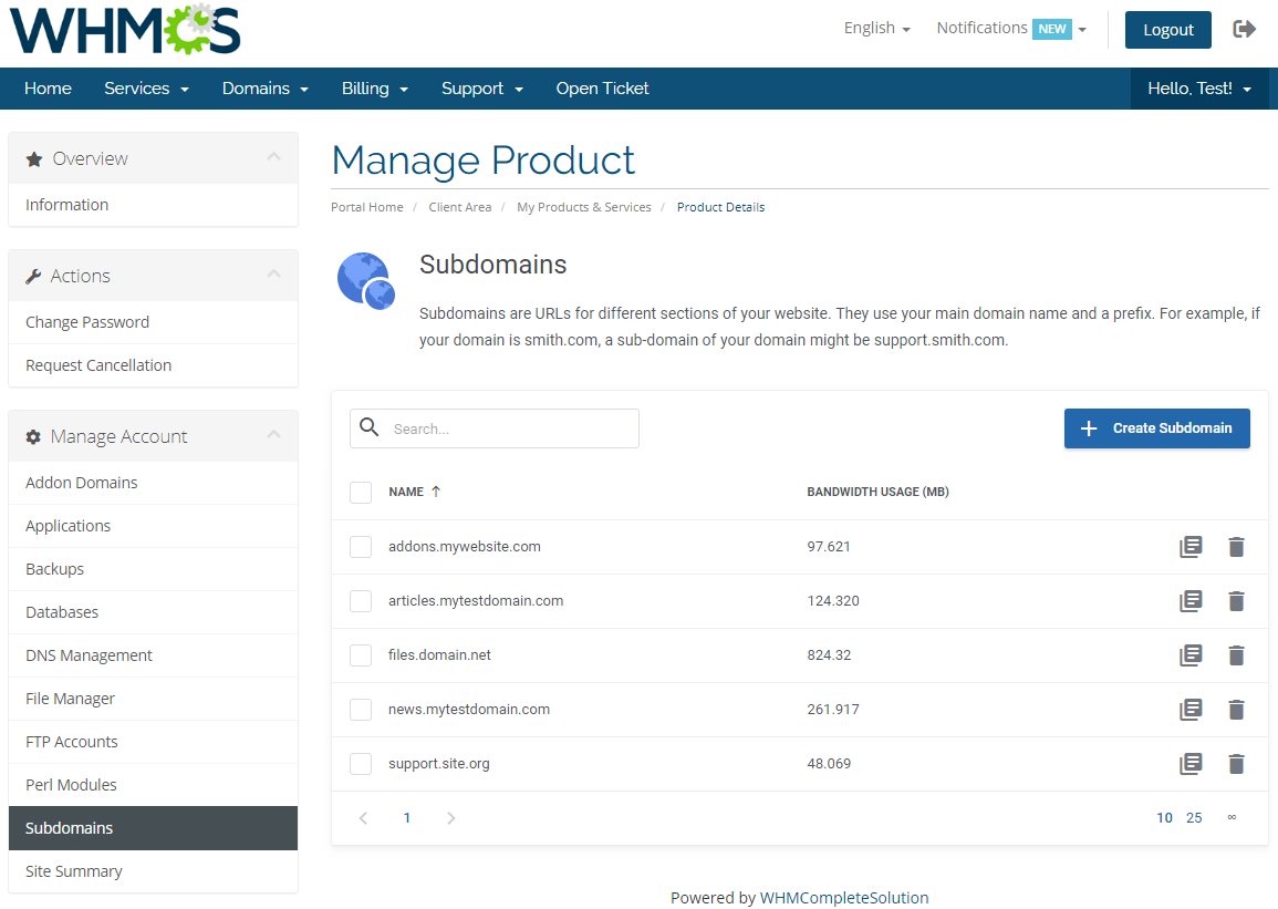DirectAdmin Extended For WHMCS: Module Screenshot 15