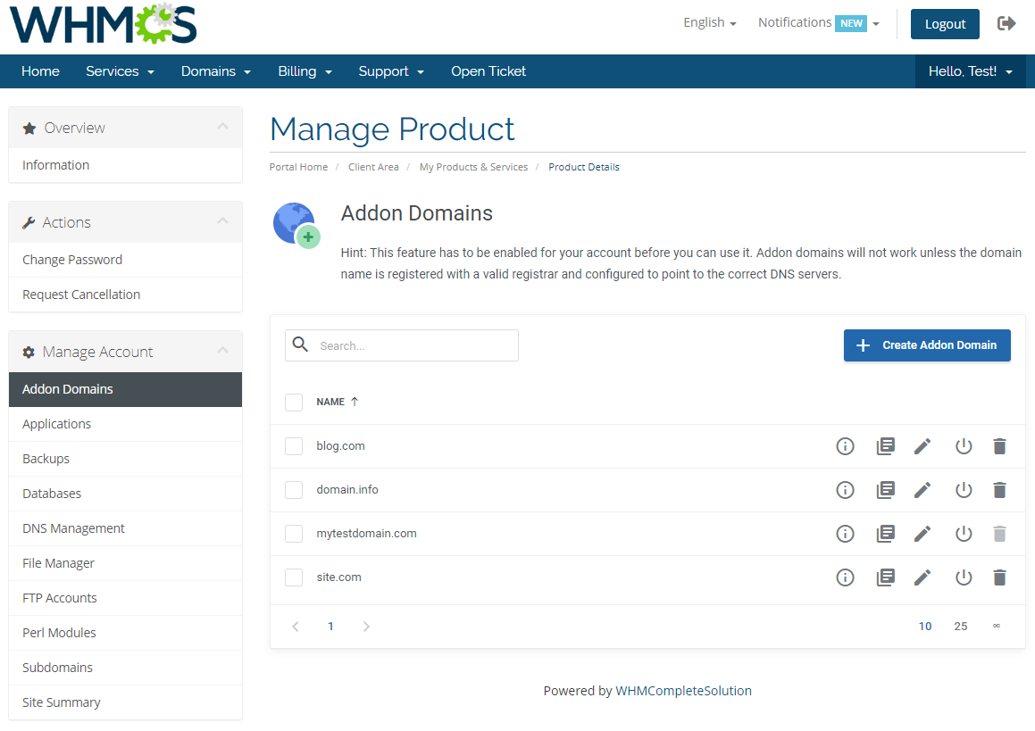 DirectAdmin Extended For WHMCS: Module Screenshot 2