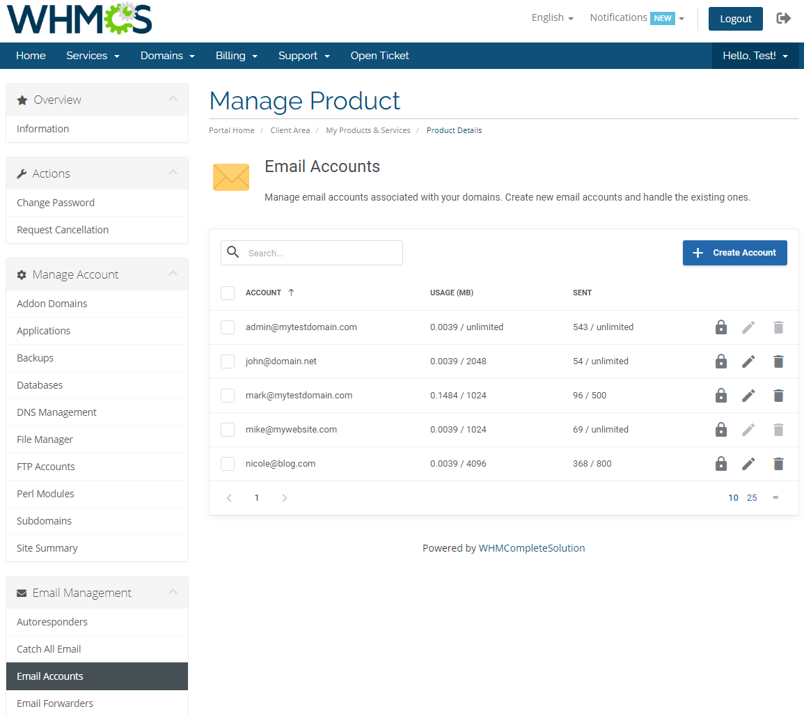 DirectAdmin Extended For WHMCS: Module Screenshot 20