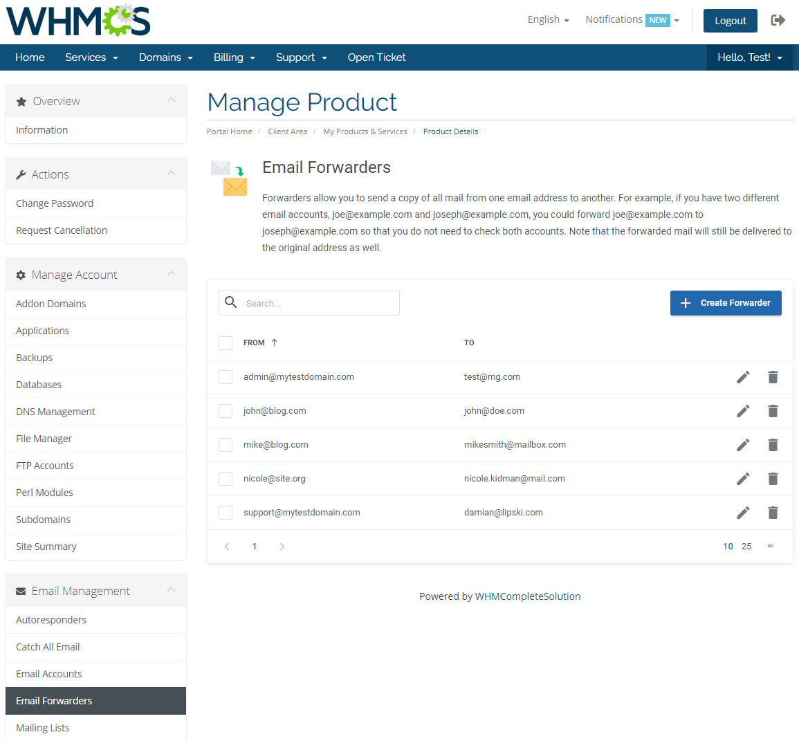 DirectAdmin Extended For WHMCS: Module Screenshot 21