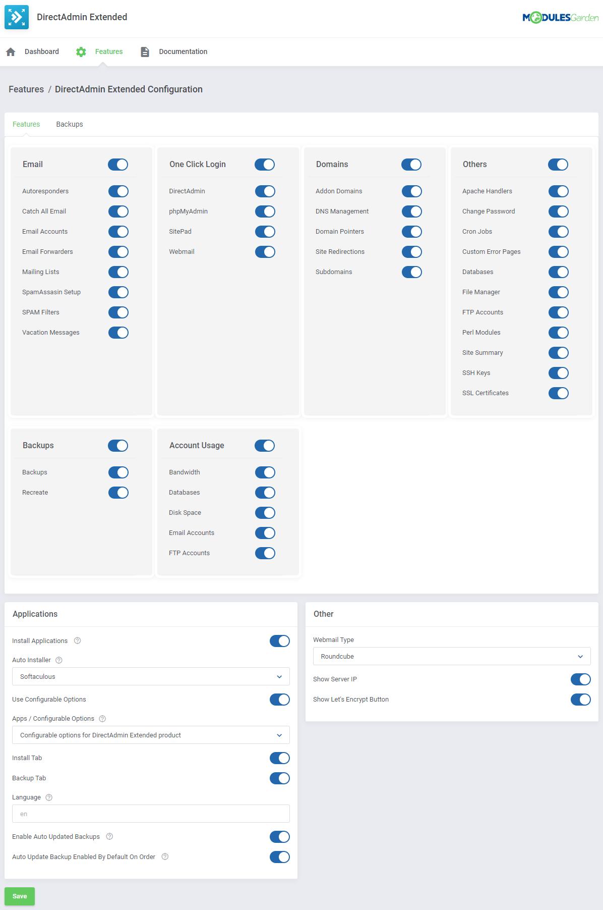 DirectAdmin Extended For WHMCS: Module Screenshot 39