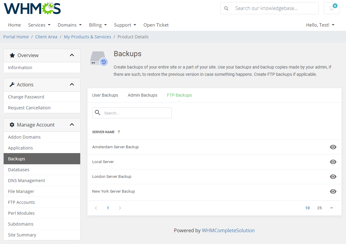 DirectAdmin Extended For WHMCS: Module Screenshot 8