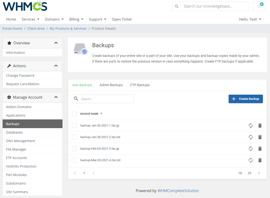 DirectAdmin Extended For WHMCS: Module Screenshot 7