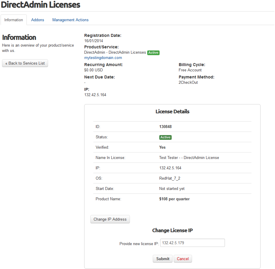 DirectAdmin Licenses For WHMCS: Screen 1