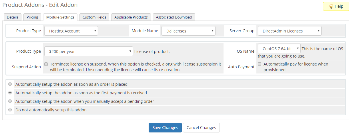 DirectAdmin Licenses For WHMCS: Screen 6