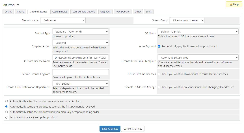 DirectAdmin Licenses For WHMCS: Module Screenshot 5