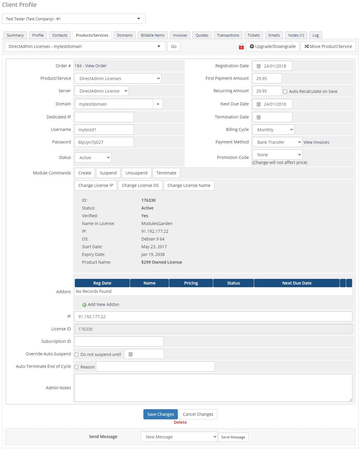 DirectAdmin Licenses For WHMCS: Module Screenshot 4
