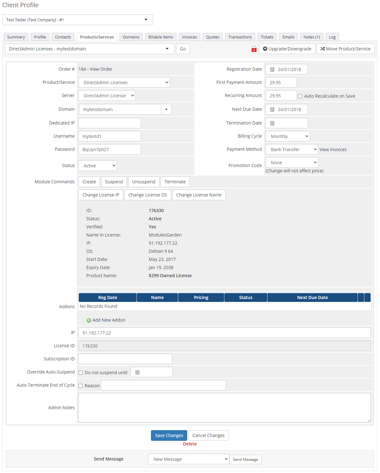DirectAdmin Licenses For WHMCS: Module Screenshot 4