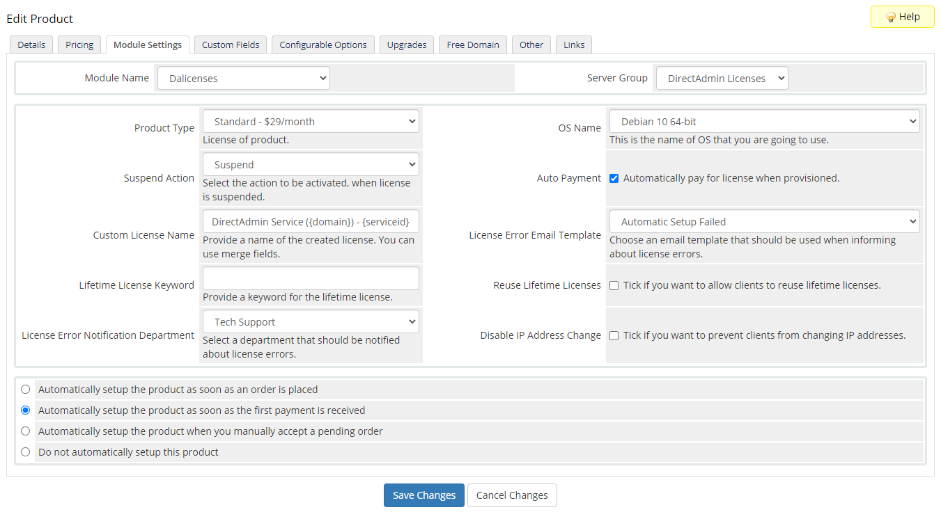 DirectAdmin Licenses For WHMCS: Module Screenshot 5