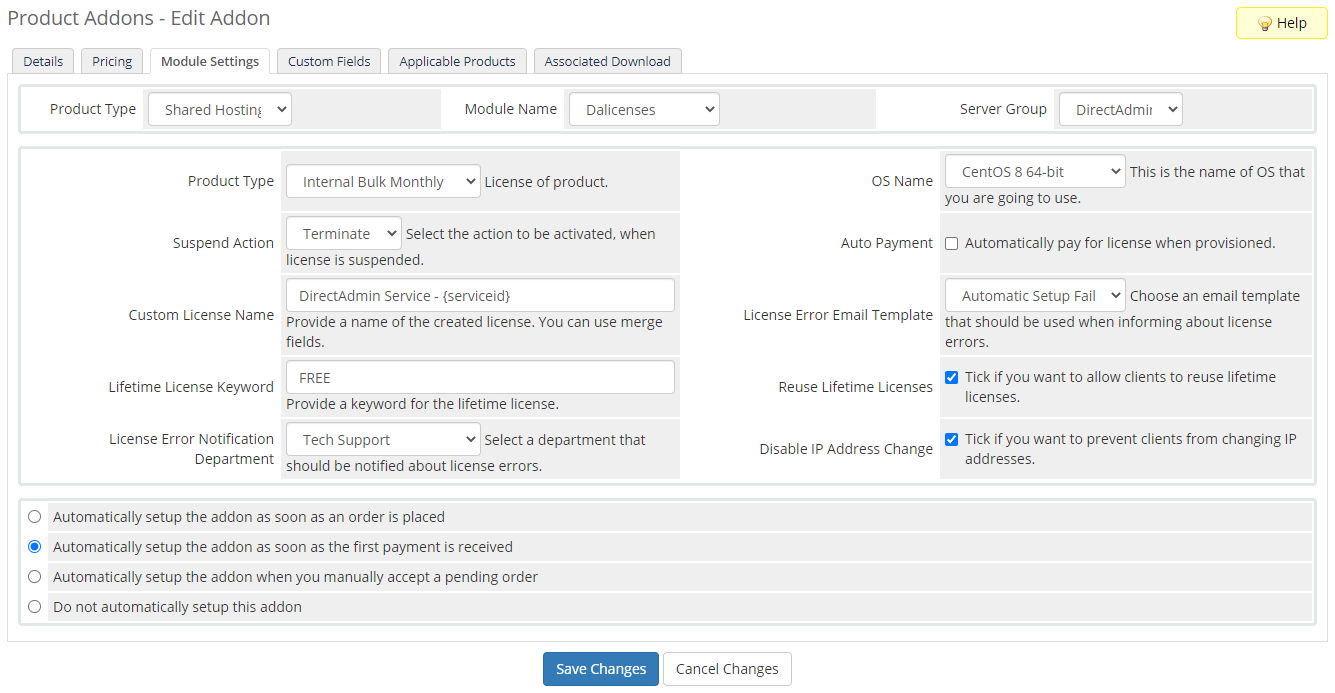 DirectAdmin Licenses For WHMCS: Module Screenshot 6